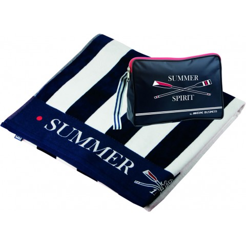 SPIRIT Towel with Toilet Bag, Navy Blue and White Stripe - 2 Pcs